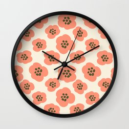 Modern Bold Pink Flowers on Tan Wall Clock