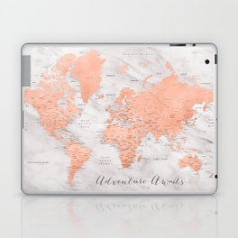 "Adventure awaits world map in rose gold and marble, ""Janine"" Laptop & iPad Skin"