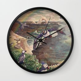 Cliffside Puffins Wall Clock