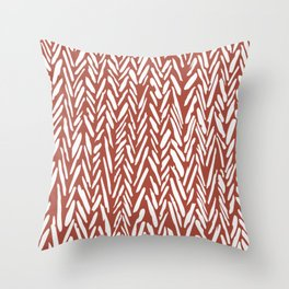 Boho mudcloth herringbone stripe pattern - clay Throw Pillow