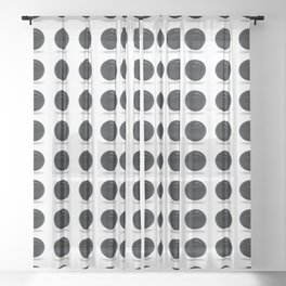 Black Polka Ball Pattern Sheer Curtain