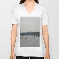 vancouver V-neck T-shirts featuring Vancouver Harbour by RMK Creative