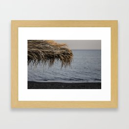 Black Sand - Santorini Beach  Framed Art Print