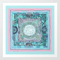 Mysterious  Collage Blue Mandala  Art Print