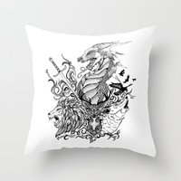 thrones Throw Pillows featuring Game of Thrones by Ink Tales