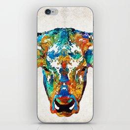 Colorful Longhorn Art By Sharon Cummings iPhone Skin