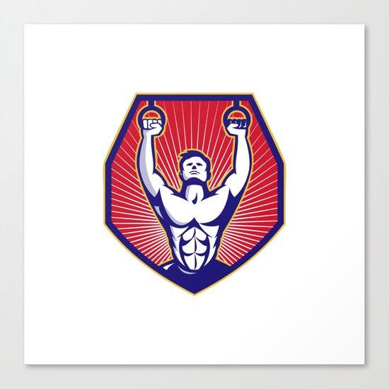 Crossfit Training Athlete Rings Retro Canvas Print