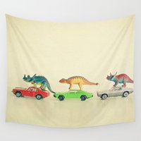 cars Wall Tapestries featuring Dinosaurs Ride Cars by Cassia Beck