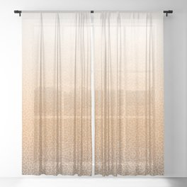 Faded orange and white swirls doodles Sheer Curtain