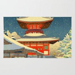 Asano Takeji Japanese Woodblock Print Vintage Mid Century Art Winter Red Shinto Shrine Snow Rug