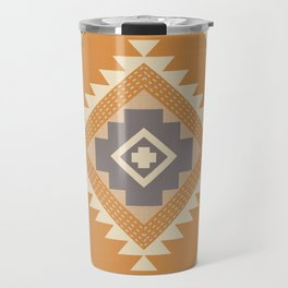 Modern Western Pattern in Butterscotch and Frost Gray Travel Mug
