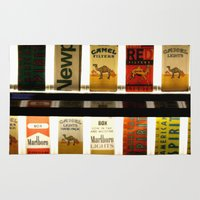 cigarette Area & Throw Rugs featuring Cigarette Machine by Lesley Ross Media