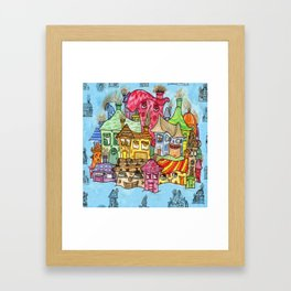 Suburbia USA Watercolor Framed Art Print