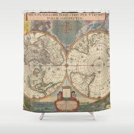 1672 World Polar Projection Map  Shower Curtain