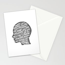 Positive words in my head Stationery Cards