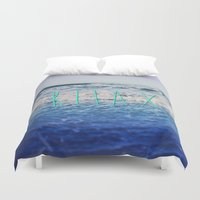 relax Duvet Covers featuring Relax by Leah Flores