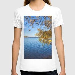 Autumn Lake Landscape #decor #society6 #buyart T-shirt