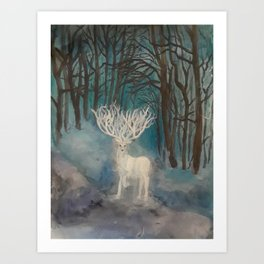 White Stag Art Print