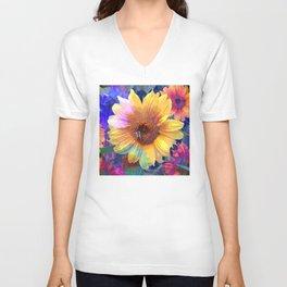 Summer's Sweetest Sunflowers Unisex V-Neck