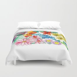 Hand Painted Montana State Map Duvet Cover