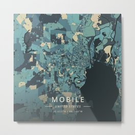 Mobile, United States - Cream Blue Metal Print