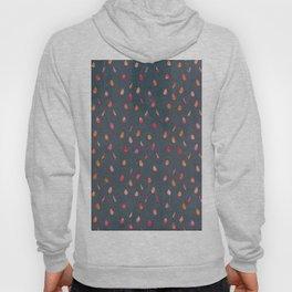 Dark gray orange pink watercolor abstract raindrops Hoody