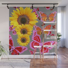 YELLOW SUNFLOWERS & MORPHING LILAC PURPLE MONARCH BUTTERFLIES Wall Mural