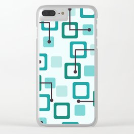 Midcentury 1950s Tiles & Squares Turquoise Clear iPhone Case