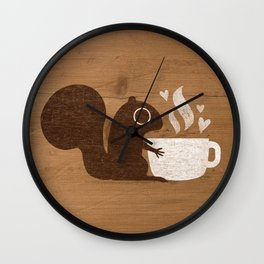 Squirrel Coffee Lover Wall Clock
