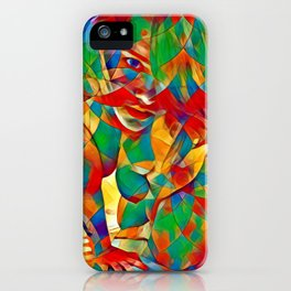 3334s-SRC Abstract Woman with Blue Eyes Rendered in Color and Style iPhone Case