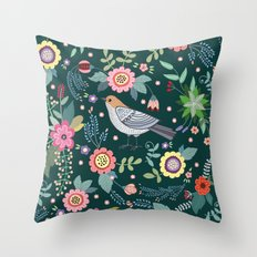 Pattern with beautiful bird in flowers Throw Pillow
