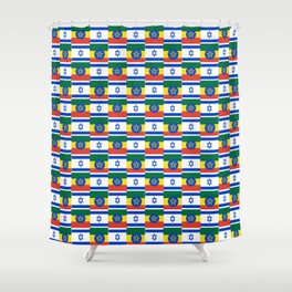 Mix of flag : israel and ethiopia Shower Curtain