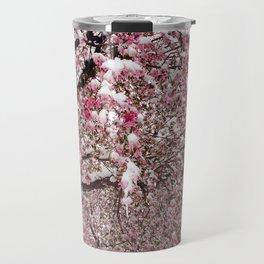 Elegant pink white nature snow cherry blossom floral Travel Mug
