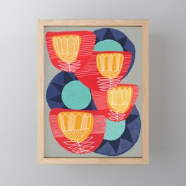 Big Flowers in Red and Blue Framed Mini Art Print