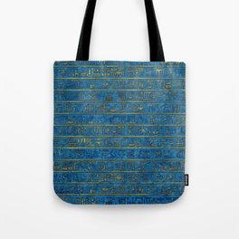 Golden Embossed Egyptian hieroglyphs on blue Tote Bag