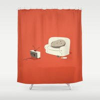 potato Shower Curtains featuring Couch Potato by Irene Chan
