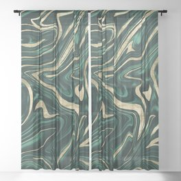 Emerald Green Black Gold Marble #1 #decor #art #society6 Sheer Curtain