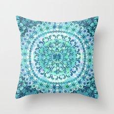 Aqua Mosaic Mandala Throw Pillow