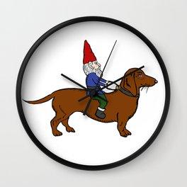 Gnome Riding a Dachshund Wall Clock