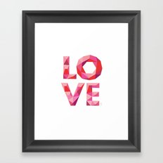 Red Faceted Love Stacked Framed Art Print