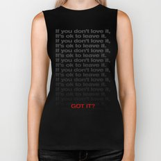 If you don't love it… A PSA for stressed creatives. Biker Tank