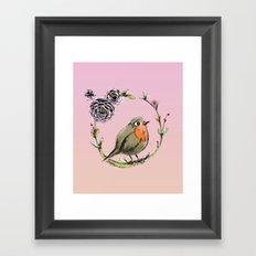 Rouge gorge - Rose Framed Art Print