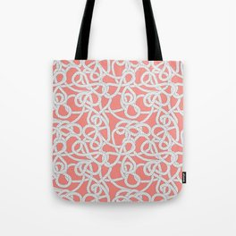 Nautical Rope Knots in Coral Tote Bag