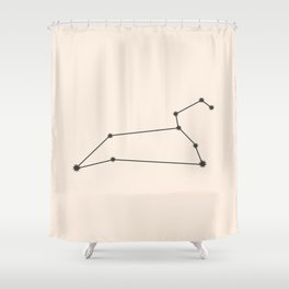 Leo Zodiac Constellation Charcoal Shower Curtain
