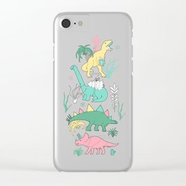 Christmas dinosaurs. Clear iPhone Case