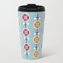 Scandinavian inspired flower pattern - blue background Travel Mug