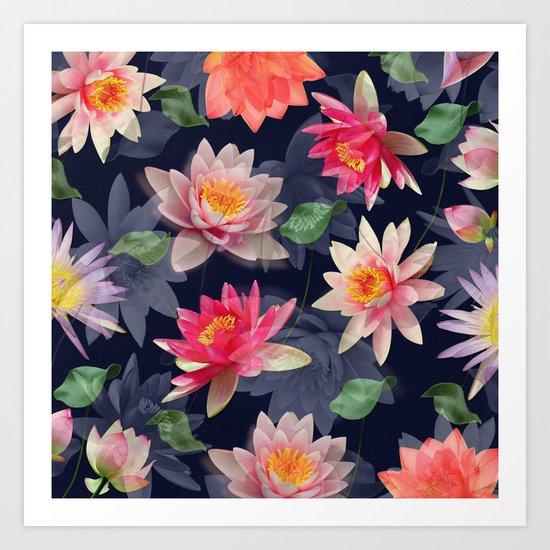 Lotus Flower Pattern #2 Art Print