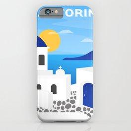 Santorini, Greece - retro travel poster #3 iPhone Case