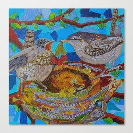 Two Birds In Colorful Nest With Quotes About Wrens Canvas Print
