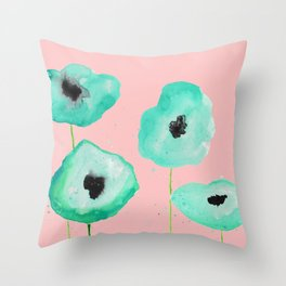 turquoise poppies in pink Throw Pillow